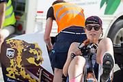 Aniek Rooderkerken is bezig met de warming up. Het Human Power Team Delft en Amsterdam, dat bestaat uit studenten van de TU Delft en de VU Amsterdam, is in Amerika om tijdens de World Human Powered Speed Challenge in Nevada een poging te doen het wereldrecord snelfietsen voor vrouwen te verbreken met de VeloX 7, een gestroomlijnde ligfiets. Het record is met 121,44 km/h sinds 2009 in handen van de Francaise Barbara Buatois. De Canadees Todd Reichert is de snelste man met 144,17 km/h sinds 2016.<br /> <br /> With the VeloX 7, a special recumbent bike, the Human Power Team Delft and Amsterdam, consisting of students of the TU Delft and the VU Amsterdam, wants to set a new woman's world record cycling in September at the World Human Powered Speed Challenge in Nevada. The current speed record is 121,44 km/h, set in 2009 by Barbara Buatois. The fastest man is Todd Reichert with 144,17 km/h.