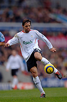 Photo: Glyn Thomas.<br />Aston Villa v Liverpool. The Barclays Premiership. <br />05/11/2005.<br />Liverpool's Fernando Morientes sends a shot into the hands of Thomas Sorensen at the end of the first half.