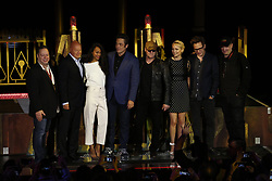 ANAHEIM, CA - MAY 25: (L-R) oe Quesada, Chief Creative Officer of Marvel Entertainment, left, chairman of Walt Disney Parks and Resorts, Bob Chapek, Zoe Saldana, who plays Gamora, Benicio Del Toro, who plays The Collector, Michael Rooker, plays Yondu Udonta, Pom Klementieff, plays Mantis, James Gunn, writer of Guardians of the Galaxy, and Kevin Feige, president of Marvel Studios attend Guardians for the Galaxy: Mission – BREAKOUT! Grand Opening Ceremony attraction on May 25, 2017 at the Disneyland Resort in Anaheim, California USA. Byline, credit, TV usage, web usage or link back must read SILVEXPHOTO.COM. Failure to byline correctly will incur double the agreed fee. Tel: +1 714 504 6870.