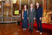 Amaryllis, King Philippe and  Ozark Henry during the award ceremony of ninth edition of the Belgodyssee for young journalists, in Brussels Royal Palace, on December 18, 20123.. BELGA PHOTO / Thierry Roge