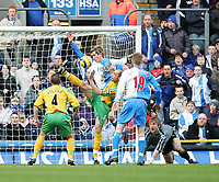 Photo. Andrew Unwin.<br /> Blackburn Rovers v Norwich, Barclays Premiership, Ewood Park, Blackburn 12/02/2005.<br /> Norwich's Craig Fleming (#5) gets stuck in in the penalty area.