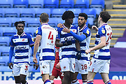 Goal 1-0 - Ovie Ejaria (14) of Reading celebrates scoring the opening goal during the EFL Sky Bet Championship match between Reading and Bristol City at the Madejski Stadium, Reading, England on 28 November 2020.