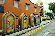 Murals symbolising the maritime and trade connections between Singapore and Oman.<br />