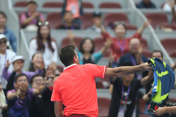 BEIJING, Oct. 5, 2018  Juan Martin Del Potro of Argentina throws his towel to spectators after winning the men's singles quarterfinal match against Filip Krajinovic of Serbia at China Open tennis tournament in Beijing, China, Oct. 5, 2018. Juan Martin Del Potro won 2-0. (Credit Image: © Xinhua via ZUMA Wire)