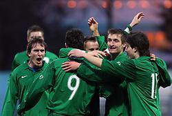 Slovenia celebrates during Friendly match between U-21 National teams of Slovenia and Romania, on February 11, 2009, in Nova Gorica, Slovenia. (Photo by Vid Ponikvar / Sportida)