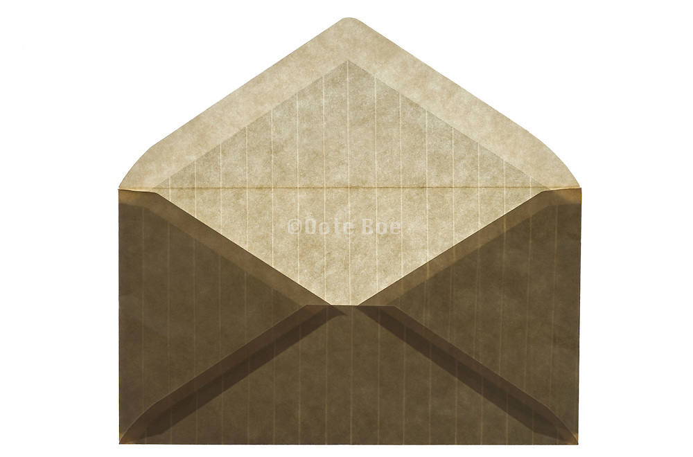 back side of an stripped brown colored envelope open
