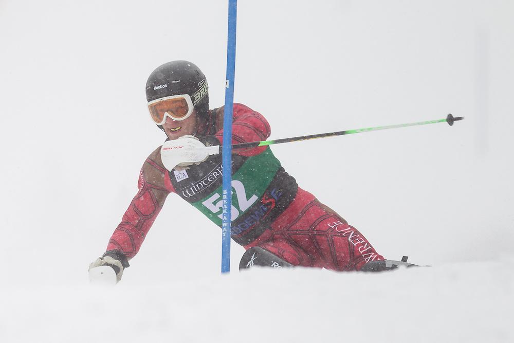Taber Engelken of St. Lawrence University, skis during the first run of the men's slalom at Jiminy Peak on February 14, 2014 in Hancock, MA. (Dustin Satloff/EISA)