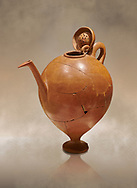 Terra cotta Hittite beaker shaped side spouted pitcher with lid - 1700 BC to 1500BC - Kültepe Kanesh - Museum of Anatolian Civilisations, Ankara, Turkey,  Against a warm art  background .<br /> <br /> If you prefer to buy from our ALAMY STOCK LIBRARY page at https://www.alamy.com/portfolio/paul-williams-funkystock/hittite-art-antiquities.html  - Type Kultepe  into the LOWER SEARCH WITHIN GALLERY box. Refine search by adding background colour, place, museum etc<br /> <br /> Visit our HITTITE PHOTO COLLECTIONS for more photos to download or buy as wall art prints https://funkystock.photoshelter.com/gallery-collection/The-Hittites-Art-Artefacts-Antiquities-Historic-Sites-Pictures-Images-of/C0000NUBSMhSc3Oo