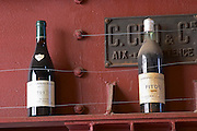Fitou Cuvee Jean Sirven 2001 and Fitou Corbieres (!) Superieur 1945 Francois Berge Sirven Paziols Domaine Bertrand-Berge In Paziols. Fitou. Languedoc. France. Europe. Bottle.