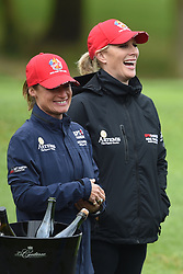 Zara Tindall and Dolly Maude (left) during the ISPS Handa Celebrity Golf Classic at The Belfry in Sutton Coldfield.