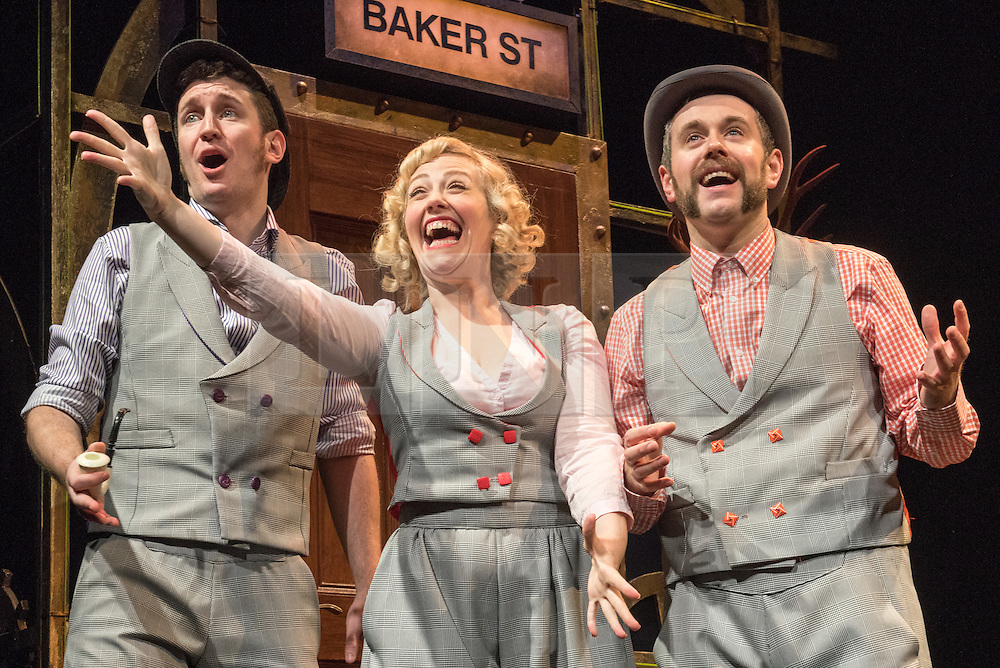 © London News Pictures. 11/12/2014. Potted Sherlock: all sixty Sherlock Holmes stories retold in eighty elementary minutes. Starring Dan Clarkson, Jeff Turner & Lizzie Wort.  At the Vaudeville Theatre. Photo credit: Tony Nandi/London News Pictures