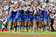The Warrington huddle during the Challenge Cup Final 2016 match between Warrington Wolves and Hull FC at Wembley Stadium, London, England on 27 August 2016. Photo by Craig Galloway.