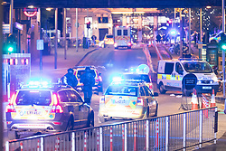 June 3, 2017 - London, United Kingdom - Police cars travel at speed past London Bridge towards a reported incident in Borough Market. Police shut down the bridge Saturday evening after a white van mounted the sidewalk and mowed down pedestrians. The authorities said there were casualties on the bridge, with more than one person dead. (Credit Image: © Vickie Flores/London News Pictures via ZUMA Wire)