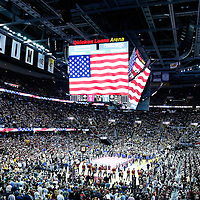 08 June 2016: General view of the Q during the national anthem prior to the Cleveland Cavaliers 120-90 victory over the Golden State Warriors, during Game Three of the 2016 NBA Finals at the Quicken Loans Arena, Cleveland, Ohio, USA.