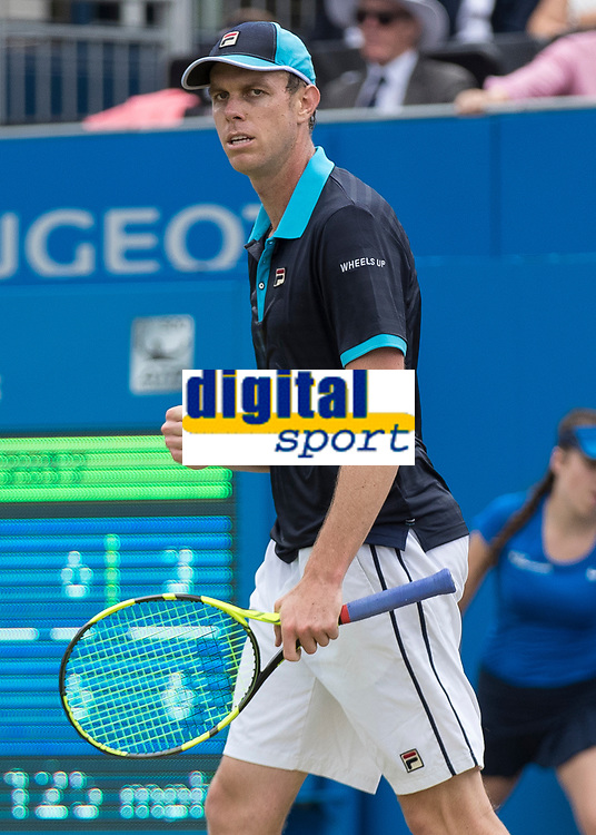 Tennis - 2017 Aegon Championships [Queen's Club Championship] - Day Four, Thursday <br /> <br /> Men's Singles: Round of 16 - Jordan THOMPSON (AUS) vs Sam QUERREY (USA)<br /> <br /> Sam Querrey (USA) celebrates with a clenched fist at Queens Club<br /> <br /> COLORSPORT/DANIEL BEARHAM