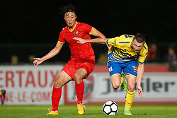 September 30, 2017 - Tubize, BELGIUM - Tubize's Wook Ki Hwang and Westerlo's Jens Naessens fight for the ball during a soccer game between AFC Tubize and KVC Westerlo, in Tubize, Saturday 30 September 2017, on the eighth day of the division 1B Proximus League competition of the Belgian soccer championship. BELGA PHOTO BRUNO FAHY (Credit Image: © Bruno Fahy/Belga via ZUMA Press)