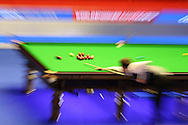 Judd Trump of England plays a shot. Coral Welsh Open Snooker 2017, final match, Judd Trump of England v Stuart Bingham of England at the Motorpoint Arena in Cardiff, South Wales on Sunday 19th February 2017.<br /> pic by Andrew Orchard, Andrew Orchard sports photography.