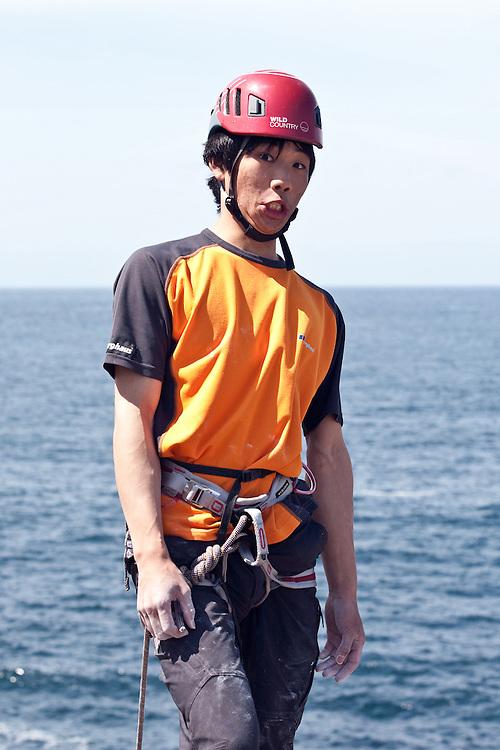 Toru Nakajima after climbing '29 Palms' E8 6c at Sennen, Cornwall