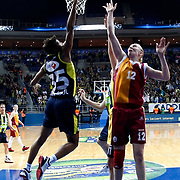 Fenerbahce's Angel MCoughtry (L) and Galatasaray's Ann Wauters (R) during their Turkish Basketball woman league derby match Fenerbahce between Galatasaray at Ulker Sports Arena in Istanbul, Turkey, wednesday, December 26, 2012. Photo by Aykut AKICI/TURKPIX