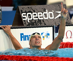 BARCELONA, Aug. 4, 2013  Chad Le Clos of South Africa reacts after the men's 100m butterfly final of the swimming competition of the 15th FINA World Championships at Palau Sant Jordi in Barcelona, Spain on Aug. 3, 2013. Chad Le Clos took the gold medal with 51.06 seconds. (Xinhua/Guo Yong) (Credit Image: © Xinhua via ZUMA Wire)