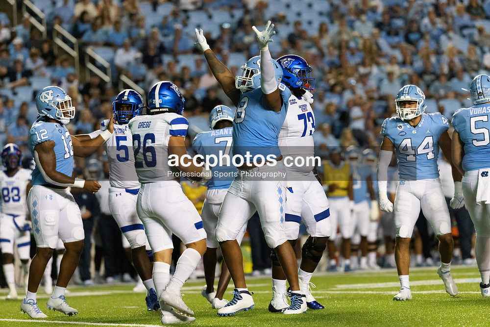 CHAPEL HILL, NC - SEPTEMBER 11: Myles Murphy #8 of the North Carolina Tar Heels plays during a game against the Georgia State Panthers on September 11, 2021 at Kenan Stadium in Chapel Hill, North Carolina. North Carolina won 59-17. (Photo by Peyton Williams/Getty Images) *** Local Caption *** Myles Murphy
