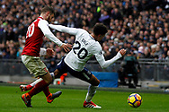 Dele Alli of Tottenham Hotspur (R) is fouled by Shkordran Mustafi of Arsenal (L). Premier league match, Tottenham Hotspur v Arsenal at Wembley Stadium in London on Saturday 10th February 2018.<br /> pic by Steffan Bowen, Andrew Orchard sports photography.