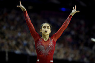 Victoria Nguyen of the United States of America (USA) at the start of her Beam routine on her way to winning the Silver Medal during the iPro Sport World Cup of Gymnastics 2017 at the O2 Arena, London, United Kingdom on 8 April 2017. Photo by Martin Cole.