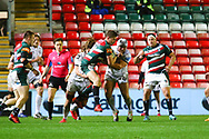 Freddie Steward of Leicester Tigers is tackled during the Gallagher Premiership Rugby match between Leicester Tigers and Gloucester Rugby at Welford Road Stadium, Leicester, United Kingdom on 21 November 2020.
