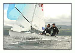 470 Class European Championships Largs - Day 3.Brighter conditions with more wind...FRA8, Kevin PEPONNET, Julien LEBRUN