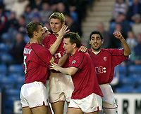 Kilmarnock v Rangers, Scottish Premier League, Rugby Park, <br />Pic Ian Stewart,  Wednesday, 11/4/2001<br />Flo congratulated by Numan Dodds and Reynsa after gaol, Tore Andre Flo.