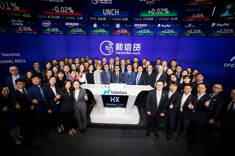 Hexindai IPO at Nasdaq on November 3, 2017 in New York City  (Photo by Ben Hider)