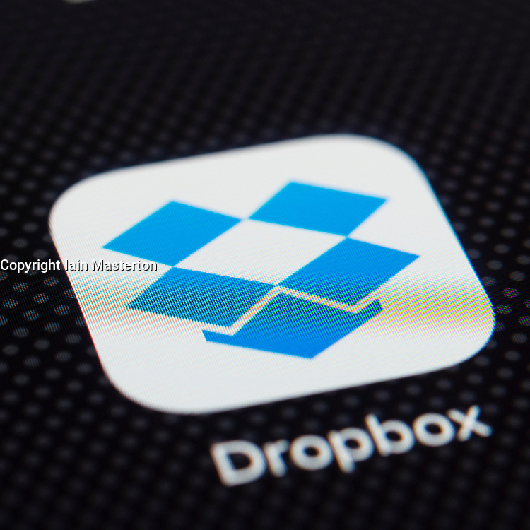 Dropbox online cloud storage app close up on iPhone smart phone screen