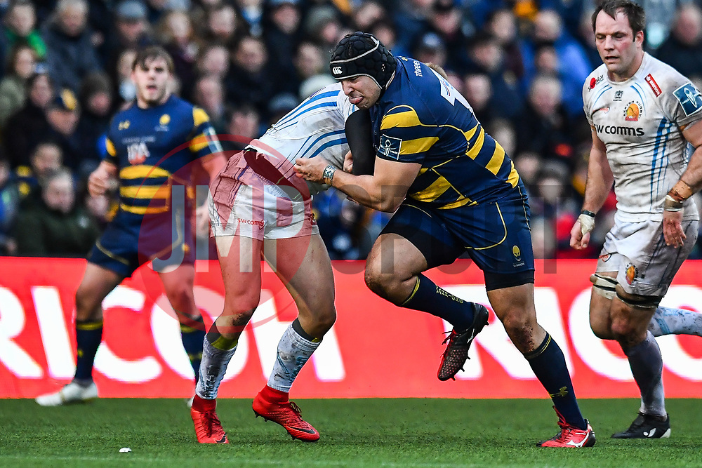 Gareth Milasinovich of Worcester Warriors in action - Mandatory by-line: Craig Thomas/JMP - 27/01/2018 - RUGBY - Sixways Stadium - Worcester, England - Worcester Warriors v Exeter Chiefs - Anglo Welsh Cup