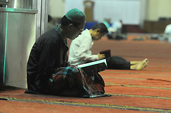 May 28, 2017 - Jakarta, Jakarta, Indonesia - Indonesian Muslims read the Qur'an on the holiday of Ramadan in Istiqlal Great Mosque Jakarta, Indonesia, Sunday, May 28, 2017. During the month of Ramadan, the holiest month in the Islamic calendar, Muslims refrain from eating, drinking, smoking and sex from dawn Until dusk. Dasril Roszandi  (Credit Image: © Dasril Roszandi/NurPhoto via ZUMA Press)