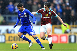 12th February 2017 - Premier League - Burnley v Chelsea - Diego Costa of Chelsea battles with Joey Barton of Burnley - Photo: Simon Stacpoole / Offside.