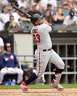 CHICAGO - JUNE 30:  Nelson Cruz #23 of the Minnesota Twins bats against the Chicago White Sox on June 30, 2019 at Guaranteed Rate Field in Chicago, Illinois.  (Photo by Ron Vesely)  Subject:  Nelson Cruz