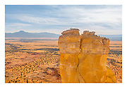 View of the Piedra Lumbre basin from Chimney Rock at Ghost Ranch, with Cerro Pedernal on left.