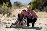 The Gaunt family — Andy, Amy, Elliot and Elan, are seen here in Los Alamos with their huskie named Zima. All images © 2020 Thomas Graves