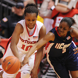 Mar 2, 2009; Piscataway, NJ, USA; Rutgers guard Epiphanny Prince (10) steals the ball away from Connecticut guard Tiffany Hayes (3) during the second half of Rutgers game against nationally rated #1 Connecticut at the Louis Brown Athletic Center.  Connecticut won 69-59 to finish their regular season a perfect 30-0.