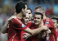 Spain's Sergio Busquets, Andres Iniesta, Cesc Fabregas, Pedro Rodriguez and Sergio Ramos celebratre goal during 15th UEFA European Championship Qualifying Round match. September 5,2015.(ALTERPHOTOS/Acero)