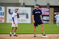 KELOWNA, CANADA - JUNE 28: NHL Montreal Canadiens Shea Weber stands on second base next to Mayor Colin Basran during the opening charity game of the Home Base Slo-Pitch Tournament fundraiser for the Kelowna General Hospital Foundation JoeAnna's House on June 28, 2019 at Elk's Stadium in Kelowna, British Columbia, Canada.  (Photo by Marissa Baecker/Shoot the Breeze)