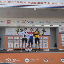 23-08-2020: Wielrennen: NK elite: Drijber<br />Podium NK elite Mathieu van der Poel, Nils Eekhof, Timo Roosen