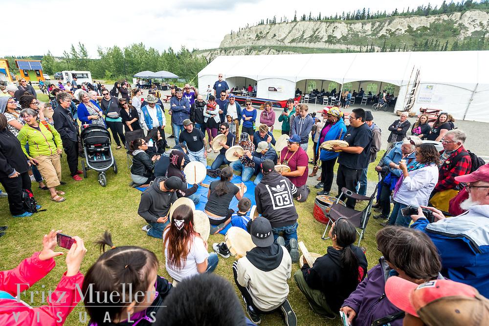 Adaka Cultural Festival 2016, Whitehorse, Yukon, Canada, Yukon First Nation Culture and Tourism Association, Kwanlin Dun Cultural Centre, drumming, hand games
