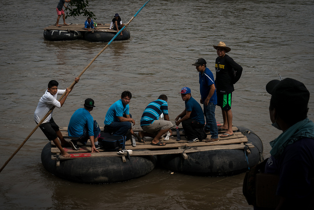 Tens of thousands of migrants and refugees cross the Rio Suchiate on rafts each year, the river is the natural border between Guatemala and Mexico. Many cross the river on rafts.