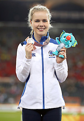 Scotland's Maria Lyle on the podium after winning a silver medal in the Women's T35 100m Final at the Carrara Stadium during day seven of the 2018 Commonwealth Games in the Gold Coast, Australia.