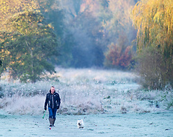 ©Licensed to London News Pictures 08/11/2019.<br /> Sidcup,UK. A dog walker on a cold and frosty autumnal weather morning at Footscray Meadows in Sidcup, South East London. Photo credit: Grant Falvey/LNP