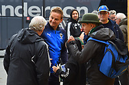 AFC Wimbledon manager Neal Ardley speaking to fans on arrival at Home Park stadium before the EFL Sky Bet League 1 match between Plymouth Argyle and AFC Wimbledon at Home Park, Plymouth, England on 6 October 2018.