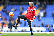 Alan Curtis, Swansea City 1st team coach kicking the ball about during pre match warm up. Barclays Premier league match, Tottenham Hotspur v Swansea city at White Hart Lane in London on Sunday 28th February 2016.<br /> pic by John Patrick Fletcher, Andrew Orchard sports photography.