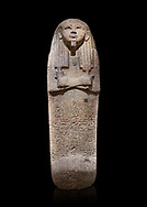Ancient Egyptian sarcophagus lid of Djehutymes, pink granite, 19th Dynasty (1279-1213 BC.) Thebes, Khokha, TT32. Egyptian Museum, Turin. Black background<br /> <br /> The lid of the coffin of Djehutymes, husband of singer Asset .<br /> <br /> If you prefer to buy from our ALAMY PHOTO LIBRARY  Collection visit : https://www.alamy.com/portfolio/paul-williams-funkystock/ancient-egyptian-art-artefacts.html  . Type -   Turin   - into the LOWER SEARCH WITHIN GALLERY box. Refine search by adding background colour, subject etc<br /> <br /> Visit our ANCIENT WORLD PHOTO COLLECTIONS for more photos to download or buy as wall art prints https://funkystock.photoshelter.com/gallery-collection/Ancient-World-Art-Antiquities-Historic-Sites-Pictures-Images-of/C00006u26yqSkDOM