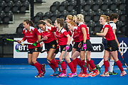 Holcombe celebrate scoring. East Grinstead v Holcombe - Semi-Final - Investec Women's Hockey League Finals, Lee Valley Hockey & Tennis Centre, London, UK on 22 April 2017. Photo: Simon Parker